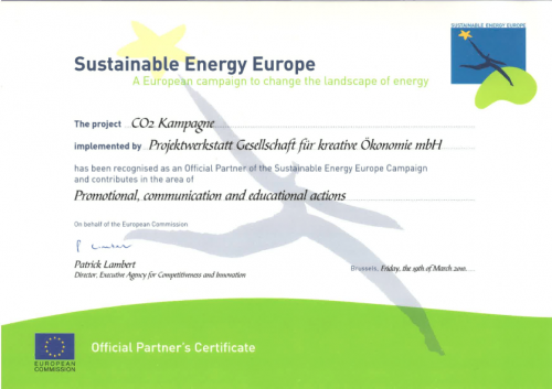"""Zetifikat für die Teilnahme am """"Sustanable Energie Europe"""" Programm"""